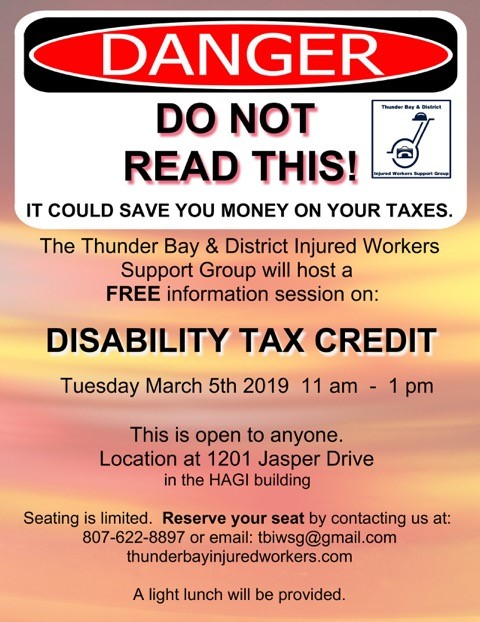 Disability Tax Credit Workshop march 2019 Poster